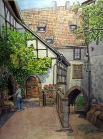 Burg, Tor, Aquarell,