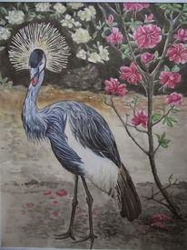 Aquarellmalerei, Tiere, Kronenkranich, Aquarell