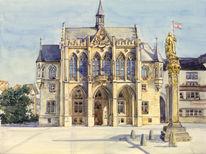 Aquarellmalerei, Erfurt, Rathaus, Aquarell