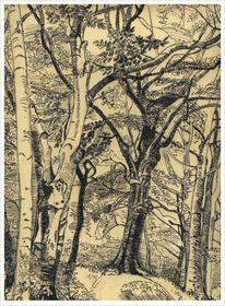 Tuschmalerei, Zeichnung, Wald, Zeichnungen