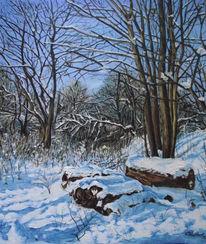 Winter, Ölmalerei, Baum, Malerei