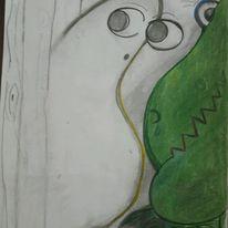Grün, Gespenst, Dinosaurier, Malerei