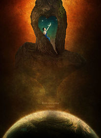 Planet, Felsen, Junge, Mond