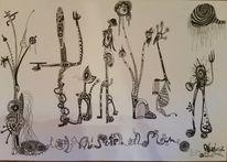 Mischtechnik, Zeichnung, Abstrakt, Zeichnungen