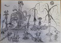 Zeichnung, Abstrakt, Mischtechnik, Zeichnungen