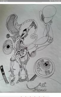 Mischtechnik, Abstrakt, Zeichnung, Zeichnungen