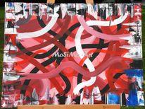 Blau, Malerei, Abstrakt, Rot schwarz