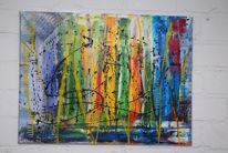 Malerei, Grün, Abstrakt, Rot schwarz