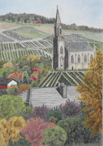 Dorf, Kirche, Landschaft, Weinberge