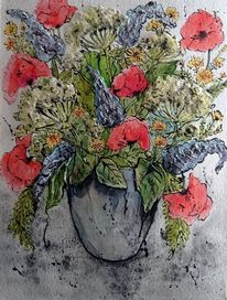 Wiese, Vase, Pflanzen, Blumen