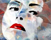 Frau, Digital, Bunt, Digitale kunst