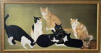 Katze, Gruppe, Malerei, Tiere