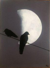 Malerei, Vogel, Mond, Nacht