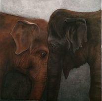 Elefant, Ölmalerei, Malerei,