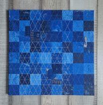 Sashiko, Blau, Mischtechnik, Collage
