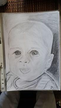 Zeichnung, Kind, Portrait, Bleistiftzeichnung