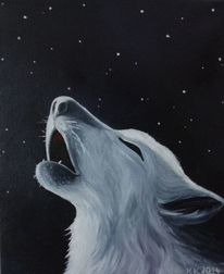 Wolf, Stern, Nacht, Malerei