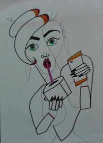 Frau, Mischtechnik, Abstrakt, Zeichnung