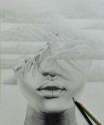 Zeichnung, Mischtechnik, Schwarz, Lippen