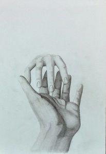 Schwarz, Berührung, Zeichnung, Hände