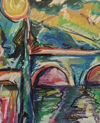 Wasser, Gelb, Blau, Brücke