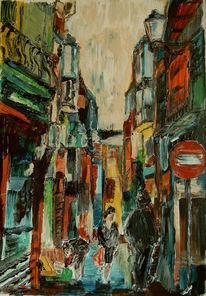 Malerei, Landschaft, Stadt, Menschen