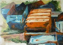 Malerei, Landschaft, Blau, Orange
