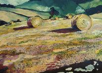 Malerei, Feld, Landschaft, Ocker