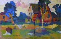 Landschaft, Blau, Stadt, Haus