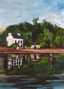 Haus, Baum, Wasser, Ufer