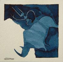 Menschen, Blau, Tiere, Malerei