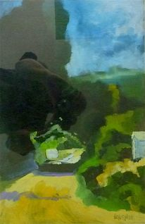 Malerei, Landschaft, Blau, Grün