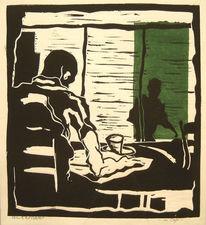 Tisch, Holzschnitt, Lesen, Cafe