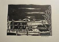 Nacht, Feld, Haus, Jahreszeiten