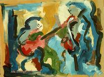 Musik, Saxofon, Malerei, Menschen