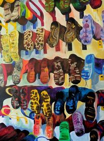 Wand, Haken, Stiefel, Malerei