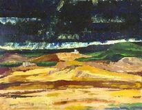 Malerei, Spanisch, Landschaft, Blau