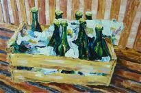 Malerei, Grün, Braun, Flasche