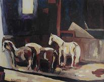 Fenster, Stall, Pferde, Malerei