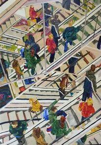 Malerei, Stadt, Menschen, Treppe