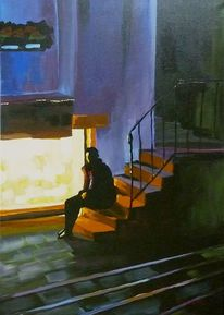 Menschen, Licht, Malerei, Nacht