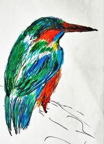 Kreide, Tiere, Vogel, Pastellmalerei