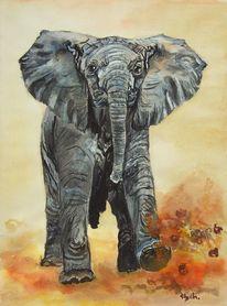 Elefant, Angriff, Wut, Aquarell