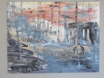 Rauch, Panzer, Leiche, Malerei