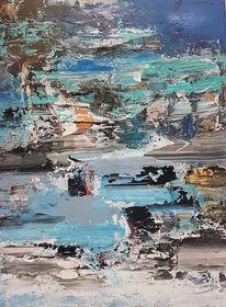 Acrylmalerei, Blau, Abstrakte malerei, Moderne malerei