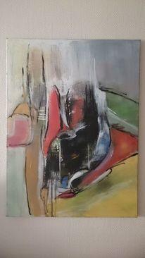 Abstrakte malerei, Gemälde, Grün, Gelb
