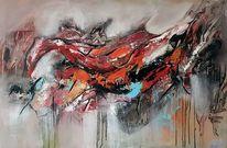 Moderne malerei, Zeitgenössische malerei, Rot, Blau