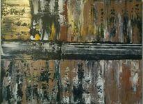 Abstrakte kunst, Spachteltechnik, Braun, Abstrakte malerei