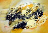 Abstrakte malerei, Moderne malerei, Acrylmalerei, Gelb