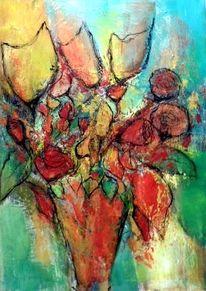 Vase, Gold, Abstrakte malerei, Moderne malerei